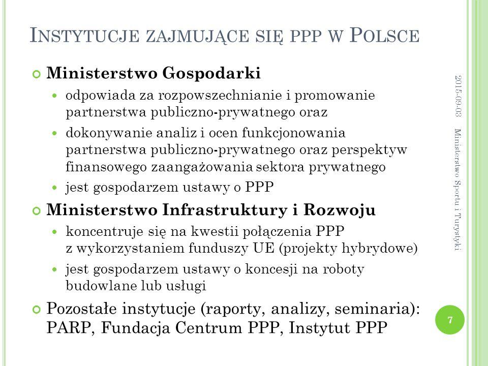 I NSTYTUCJE ZAJMUJĄCE SIĘ PPP W P OLSCE Ministerstwo Gospodarki odpowiada za rozpowszechnianie i promowanie partnerstwa publiczno-prywatnego oraz dokonywanie analiz i ocen funkcjonowania partnerstwa publiczno-prywatnego oraz perspektyw finansowego zaangażowania sektora prywatnego jest gospodarzem ustawy o PPP Ministerstwo Infrastruktury i Rozwoju koncentruje się na kwestii połączenia PPP z wykorzystaniem funduszy UE (projekty hybrydowe) jest gospodarzem ustawy o koncesji na roboty budowlane lub usługi Pozostałe instytucje (raporty, analizy, seminaria): PARP, Fundacja Centrum PPP, Instytut PPP 2015-09-03 7 Ministerstwo Sportu i Turystyki