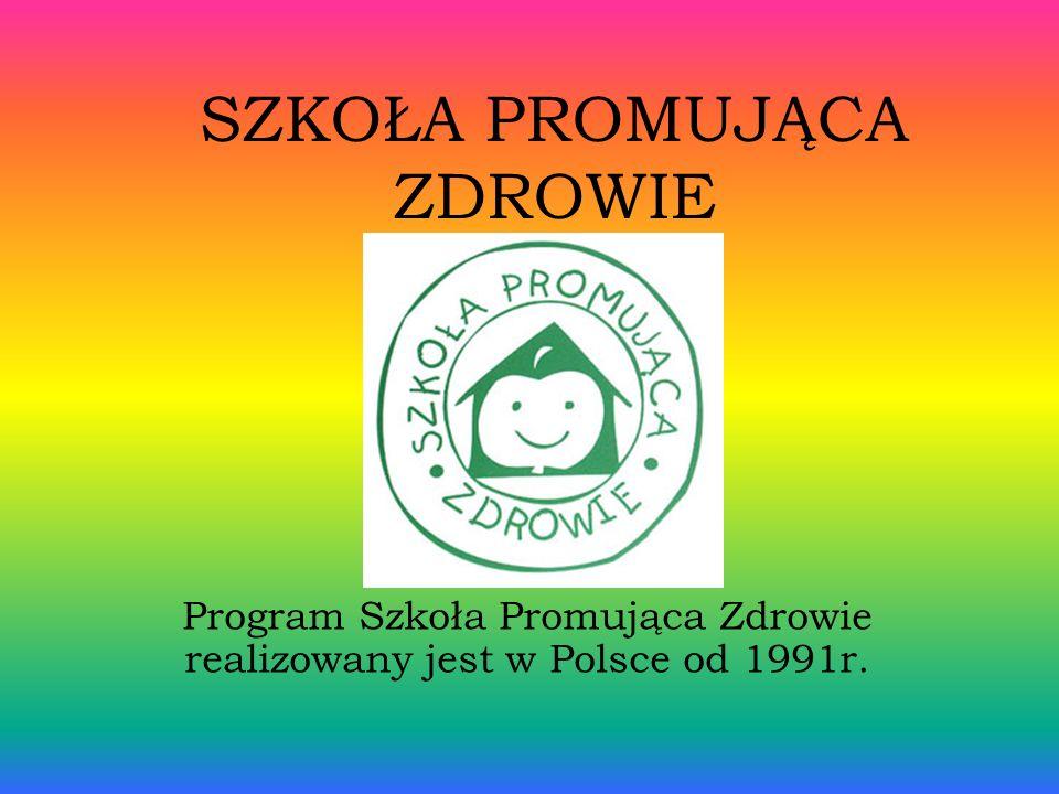 SZKOŁA PROMUJĄCA ZDROWIE Program Szkoła Promująca Zdrowie realizowany jest w Polsce od 1991r.