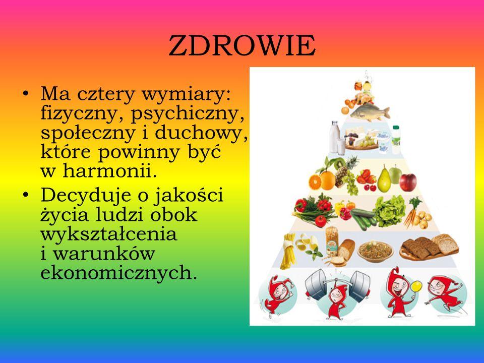 ZDROWIE Ma cztery wymiary: fizyczny, psychiczny, społeczny i duchowy, które powinny być w harmonii.