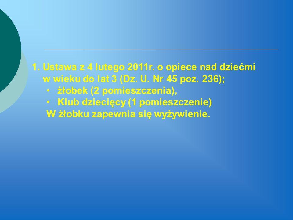 1.Ustawa z 4 lutego 2011r. o opiece nad dziećmi w wieku do lat 3 (Dz. U. Nr 45 poz. 236); żłobek (2 pomieszczenia), Klub dziecięcy (1 pomieszczenie) W