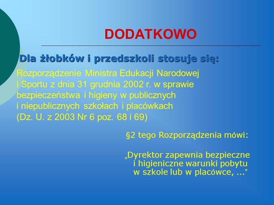 DODATKOWO Dla żłobków i przedszkoli stosuje się: Rozporządzenie Ministra Edukacji Narodowej i Sportu z dnia 31 grudnia 2002 r. w sprawie bezpieczeństw