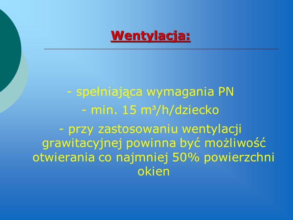 Wentylacja: - spełniająca wymagania PN - min. 15 m ³ /h/dziecko - przy zastosowaniu wentylacji grawitacyjnej powinna być możliwość otwierania co najmn