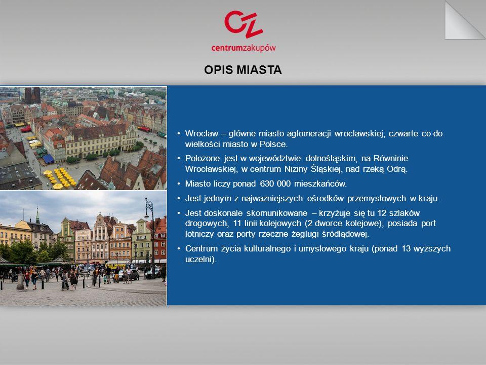 Wrocław – główne miasto aglomeracji wrocławskiej, czwarte co do wielkości miasto w Polsce.