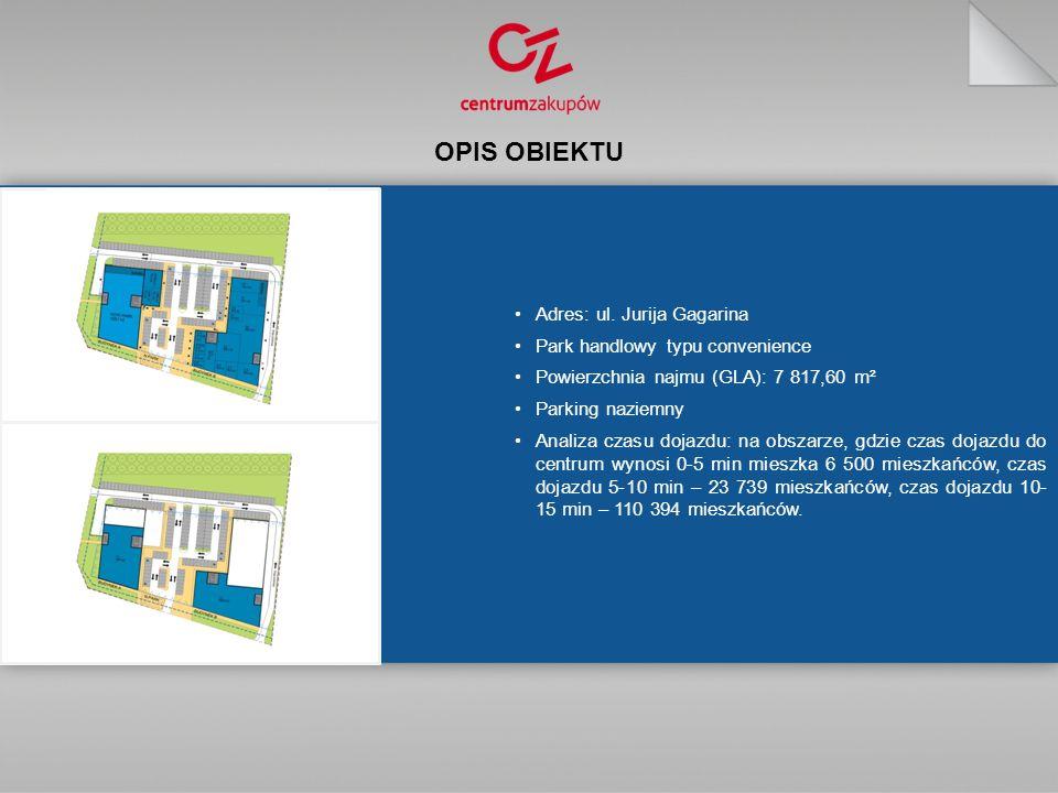 OPIS OBIEKTU Adres: ul. Jurija Gagarina Park handlowy typu convenience Powierzchnia najmu (GLA): 7 817,60 m² Parking naziemny Analiza czasu dojazdu: n