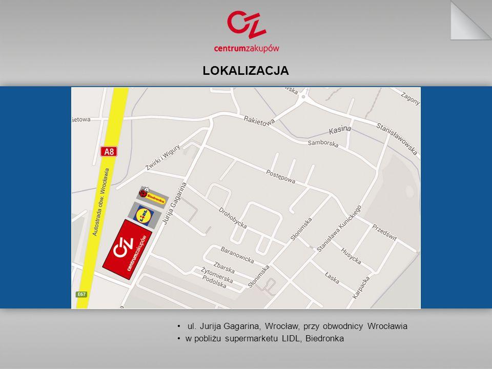 LOKALIZACJA ul. Jurija Gagarina, Wrocław, przy obwodnicy Wrocławia w pobliżu supermarketu LIDL, Biedronka