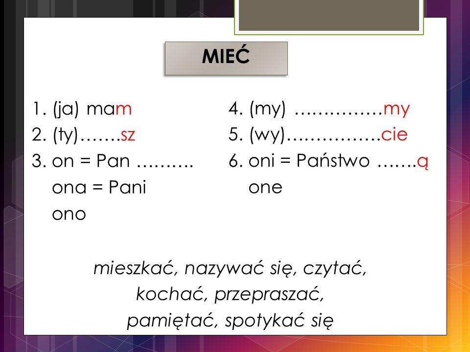 1.(ja) mam 2. (ty)…….sz 3. on = Pan ………. ona = Pani ono 4.