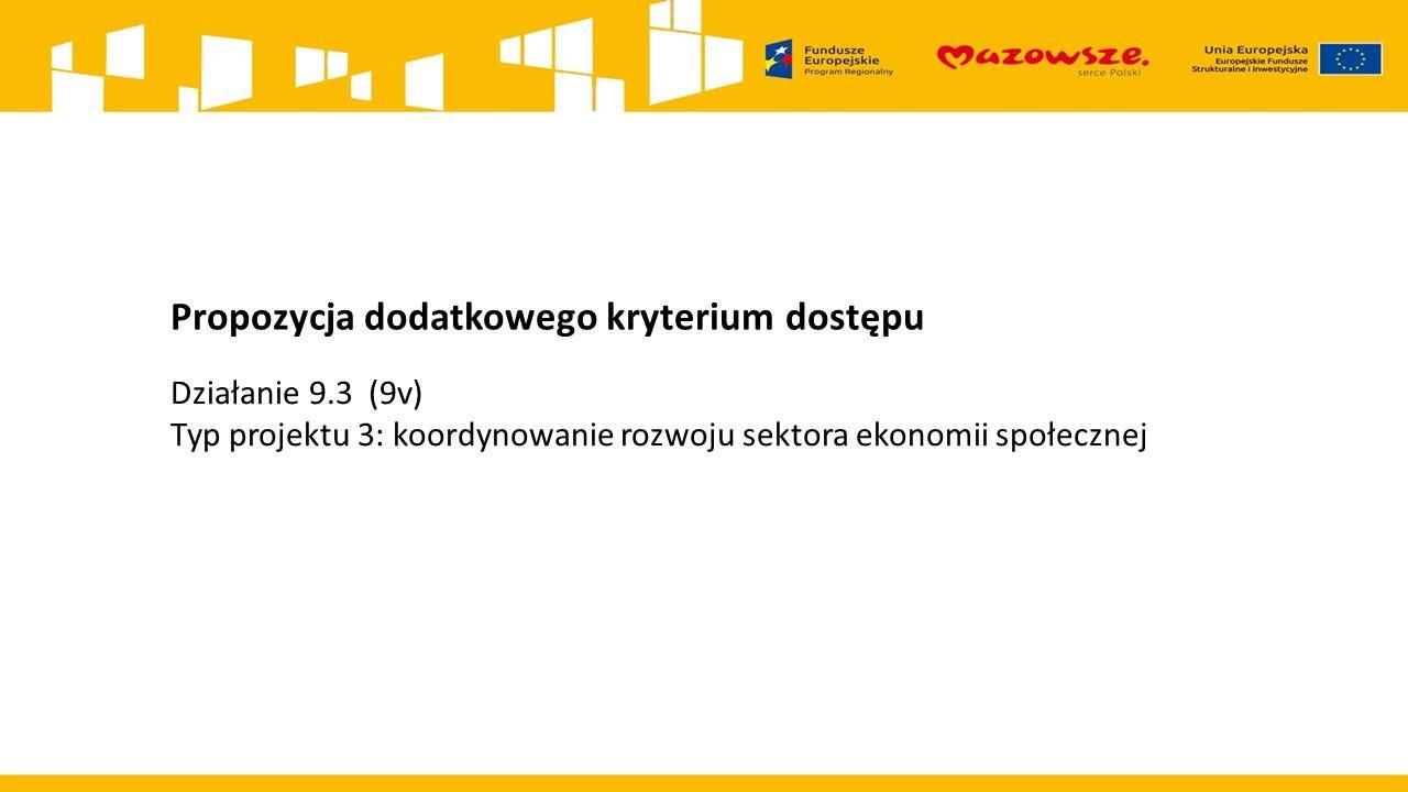 Propozycja dodatkowego kryterium dostępu Działanie 9.3 (9v) Typ projektu 3: koordynowanie rozwoju sektora ekonomii społecznej