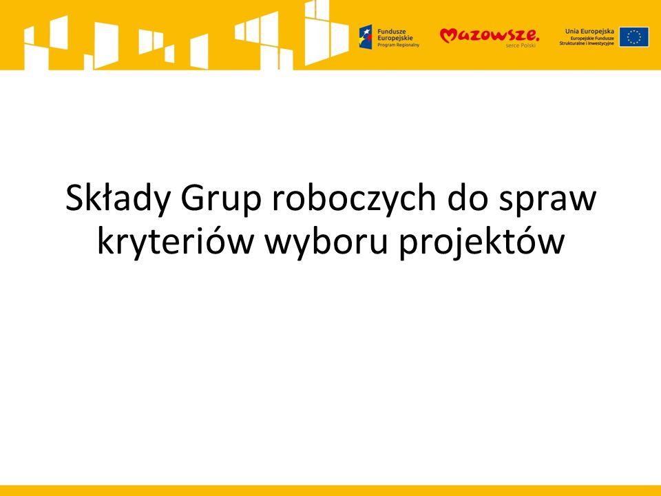 Składy Grup roboczych do spraw kryteriów wyboru projektów