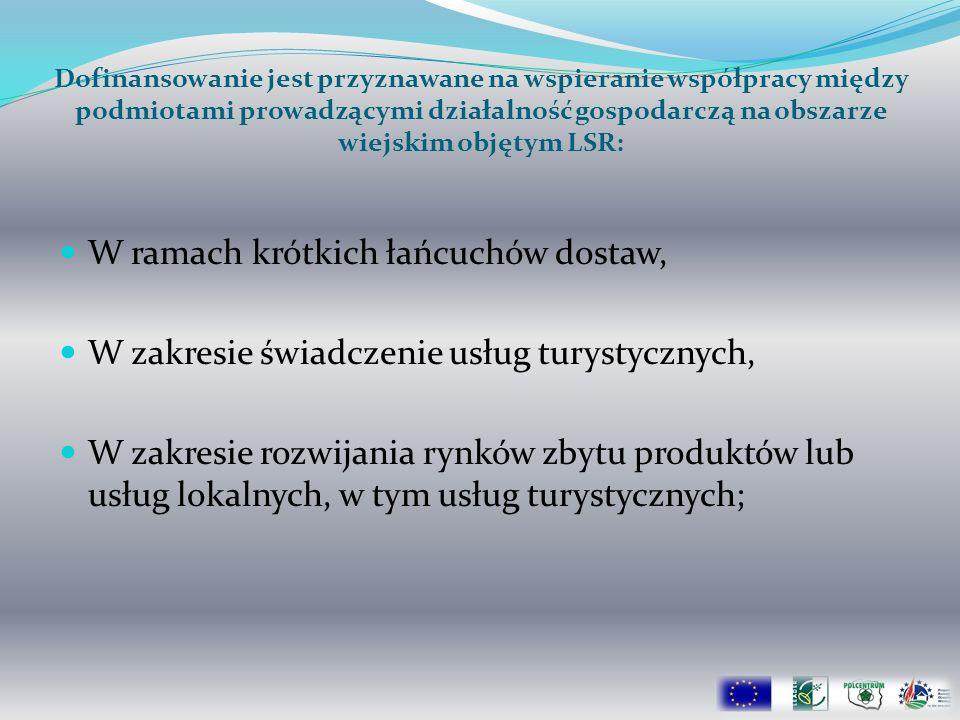 Dofinansowanie jest przyznawane na wspieranie współpracy między podmiotami prowadzącymi działalność gospodarczą na obszarze wiejskim objętym LSR: W ra
