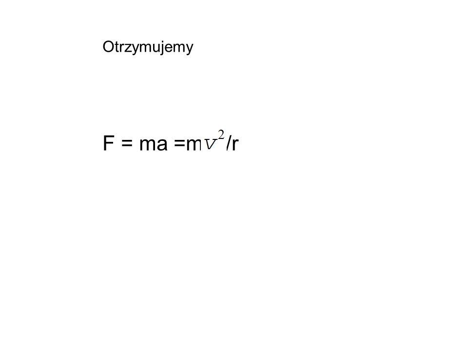 Otrzymujemy F = ma =m /r