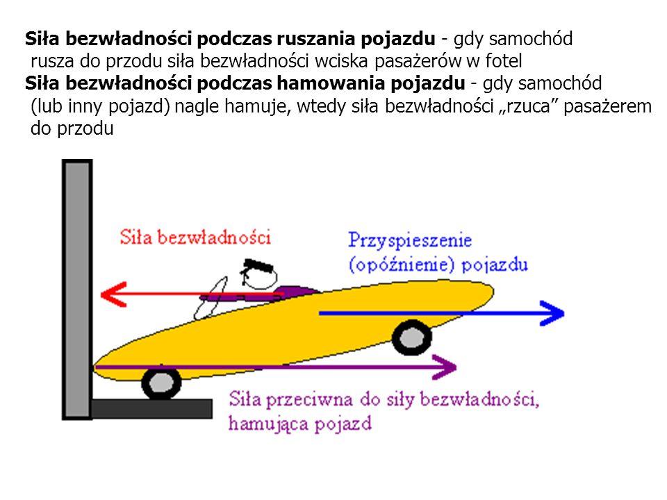 Siła bezwładności podczas ruszania pojazdu - gdy samochód rusza do przodu siła bezwładności wciska pasażerów w fotel Siła bezwładności podczas hamowan