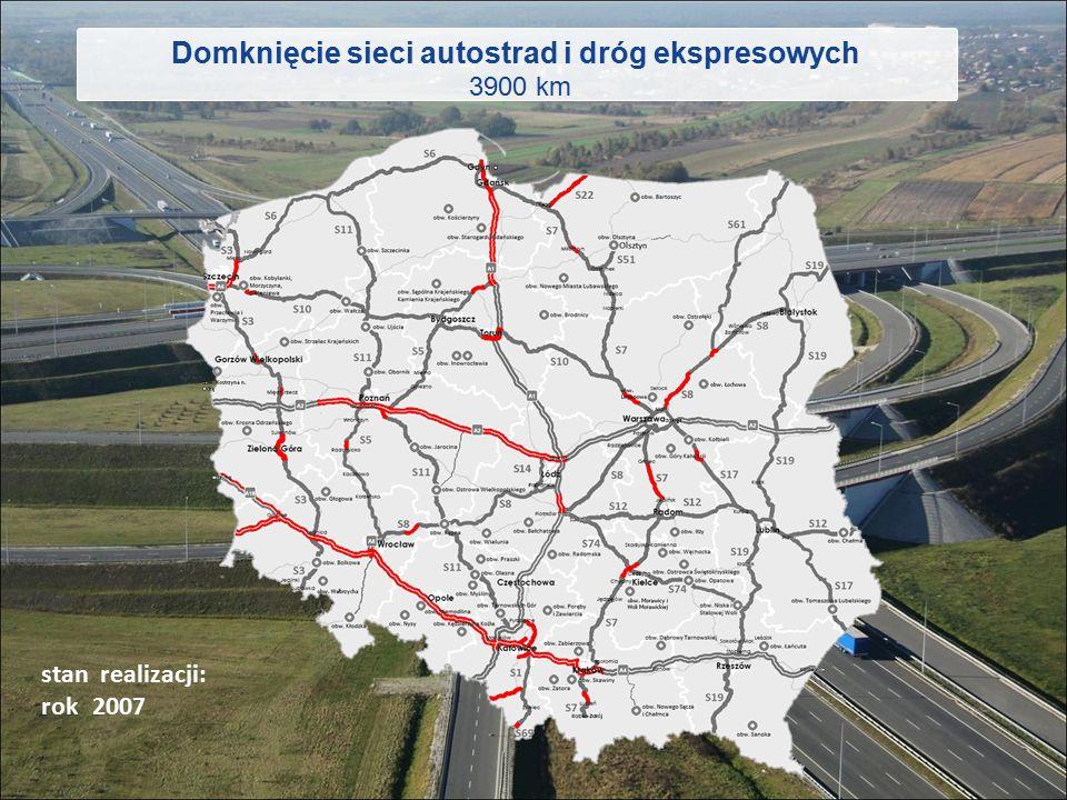 Domknięcie sieci autostrad i dróg ekspresowych 3900 km stan realizacji: rok 2015 2020 2007