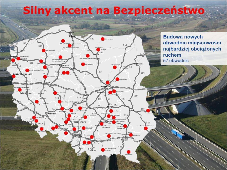 Silny akcent na Bezpieczeństwo Budowa nowych obwodnic miejscowości najbardziej obciążonych ruchem 57 obwodnic
