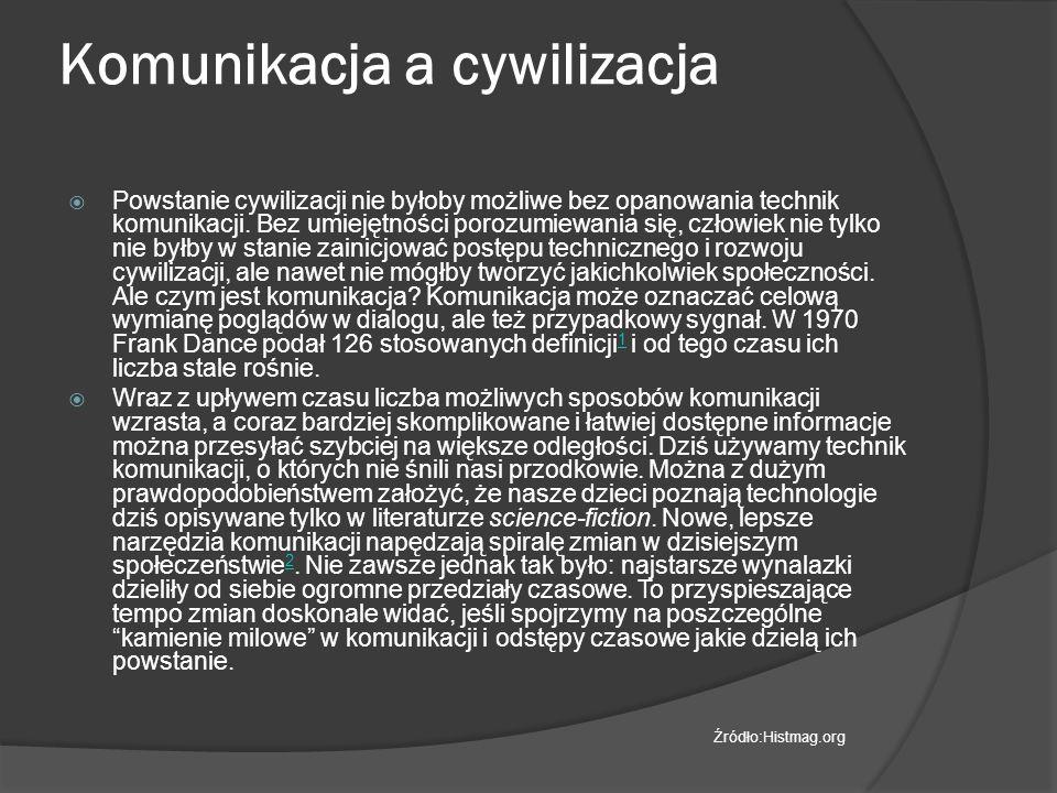 Komunikacja a cywilizacja  Powstanie cywilizacji nie byłoby możliwe bez opanowania technik komunikacji.