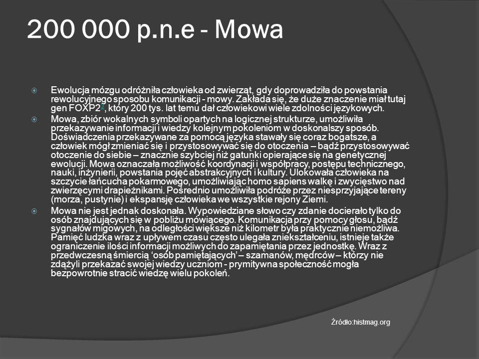 3300 p.n.e.- Pismo  Symbole były prekursorem kolejnego wielkiego wynalazku – pisma.