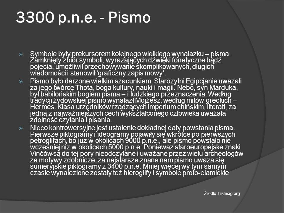 3300 p.n.e. - Pismo  Symbole były prekursorem kolejnego wielkiego wynalazku – pisma.