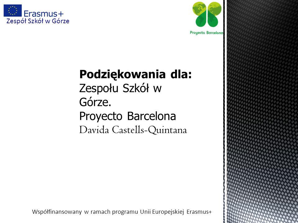 Współfinansowany w ramach programu Unii Europejskiej Erasmus+ Zespół Szkół w Górze Podziękowania dla: Zespołu Szkół w Górze. Proyecto Barcelona Davida