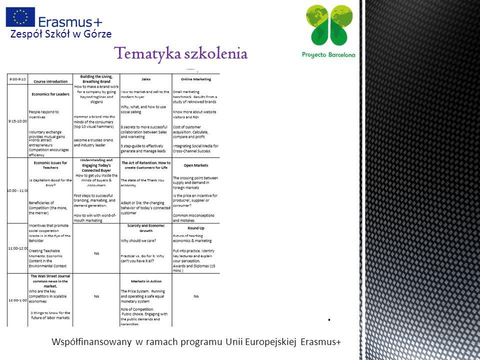 Współfinansowany w ramach programu Unii Europejskiej Erasmus+ Zespół Szkół w Górze Tematyka szkolenia