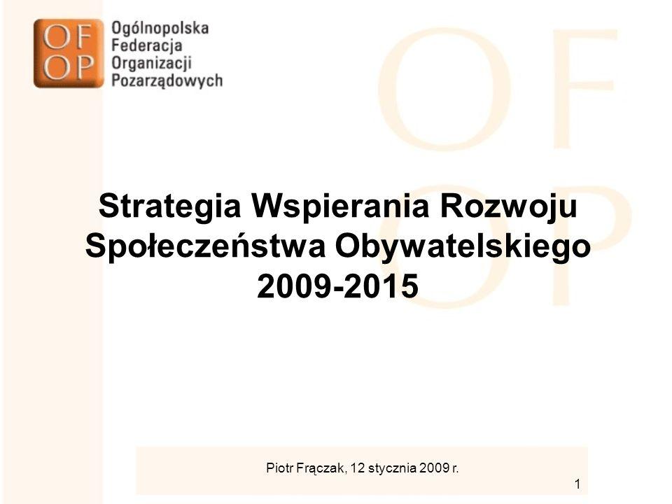 Strategia Wspierania Rozwoju Społeczeństwa Obywatelskiego 2009-2015 Piotr Frączak, 12 stycznia 2009 r.
