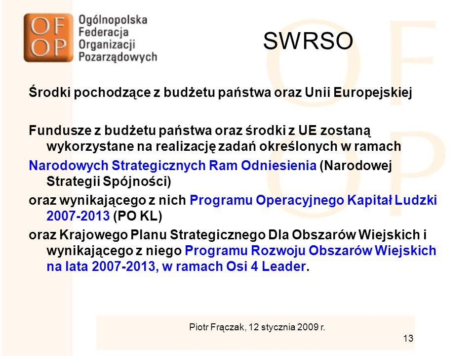 SWRSO Środki pochodzące z budżetu państwa oraz Unii Europejskiej Fundusze z budżetu państwa oraz środki z UE zostaną wykorzystane na realizację zadań określonych w ramach Narodowych Strategicznych Ram Odniesienia (Narodowej Strategii Spójności) oraz wynikającego z nich Programu Operacyjnego Kapitał Ludzki 2007-2013 (PO KL) oraz Krajowego Planu Strategicznego Dla Obszarów Wiejskich i wynikającego z niego Programu Rozwoju Obszarów Wiejskich na lata 2007-2013, w ramach Osi 4 Leader.