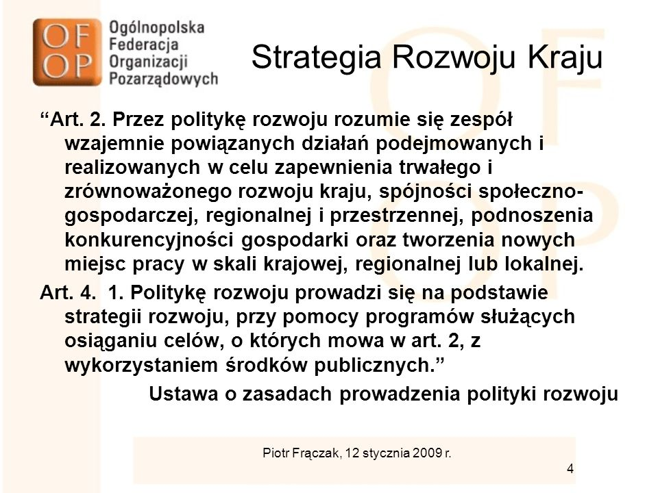 Strategia Rozwoju Kraju Art. 2.