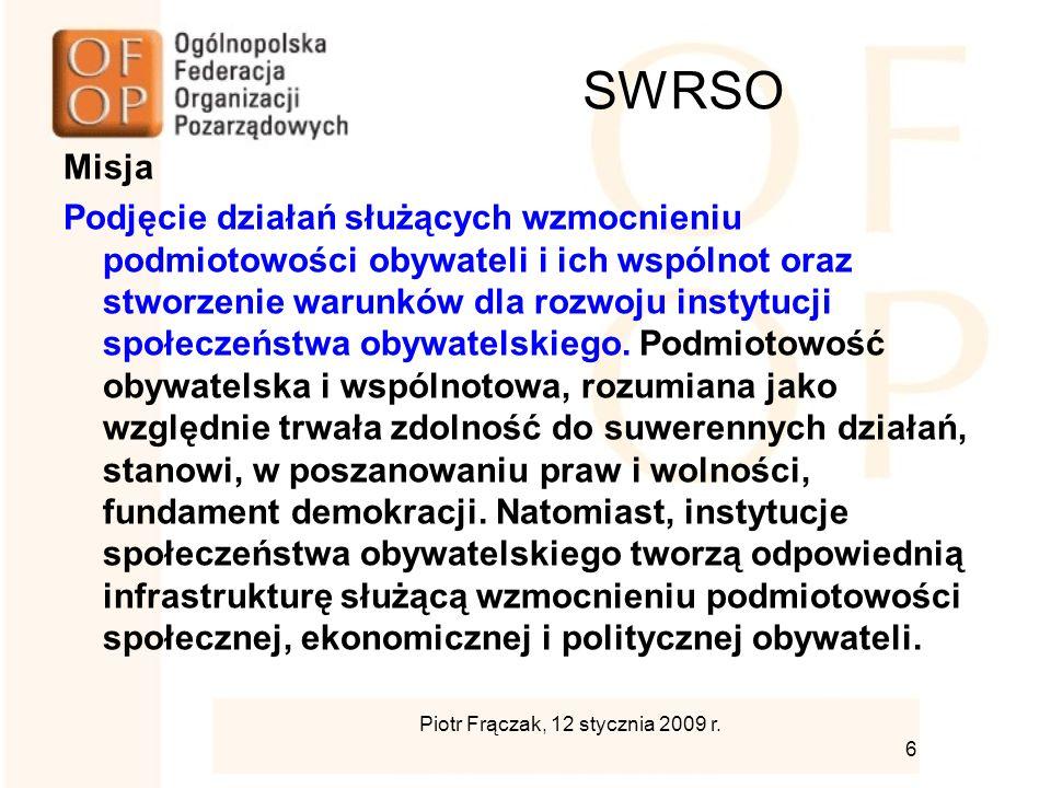 SWRSO Misja Podjęcie działań służących wzmocnieniu podmiotowości obywateli i ich wspólnot oraz stworzenie warunków dla rozwoju instytucji społeczeństwa obywatelskiego.