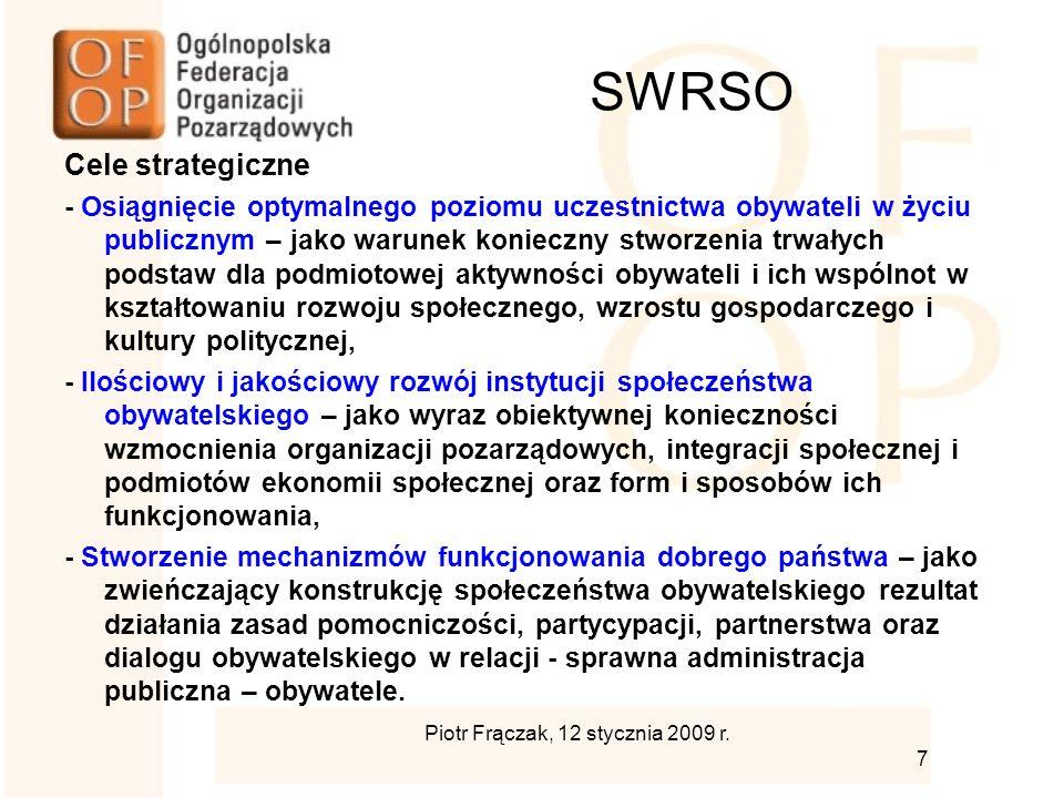 SWRSO Cele strategiczne - Osiągnięcie optymalnego poziomu uczestnictwa obywateli w życiu publicznym – jako warunek konieczny stworzenia trwałych podstaw dla podmiotowej aktywności obywateli i ich wspólnot w kształtowaniu rozwoju społecznego, wzrostu gospodarczego i kultury politycznej, - Ilościowy i jakościowy rozwój instytucji społeczeństwa obywatelskiego – jako wyraz obiektywnej konieczności wzmocnienia organizacji pozarządowych, integracji społecznej i podmiotów ekonomii społecznej oraz form i sposobów ich funkcjonowania, - Stworzenie mechanizmów funkcjonowania dobrego państwa – jako zwieńczający konstrukcję społeczeństwa obywatelskiego rezultat działania zasad pomocniczości, partycypacji, partnerstwa oraz dialogu obywatelskiego w relacji - sprawna administracja publiczna – obywatele.