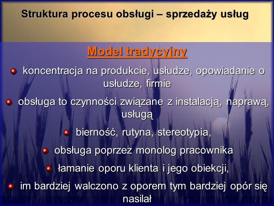Struktura procesu obsługi – sprzedaży usług Model tradycyjny koncentracja na produkcie, usłudze, opowiadanie o usłudze, firmie koncentracja na produkc