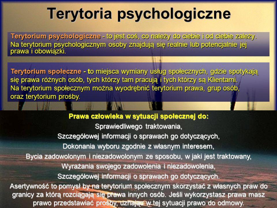 Terytoria psychologiczne Terytorium psychologiczne - to jest coś, co należy do ciebie i od ciebie zależy. Na terytorium psychologicznym osoby znajdują