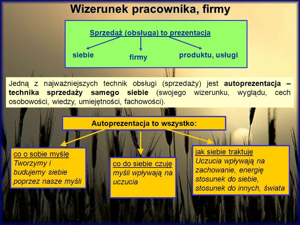 Wizerunek pracownika, firmy Sprzedaż (obsługa) to prezentacja siebie firmy produktu, usługi Jedną z najważniejszych technik obsługi (sprzedaży) jest a