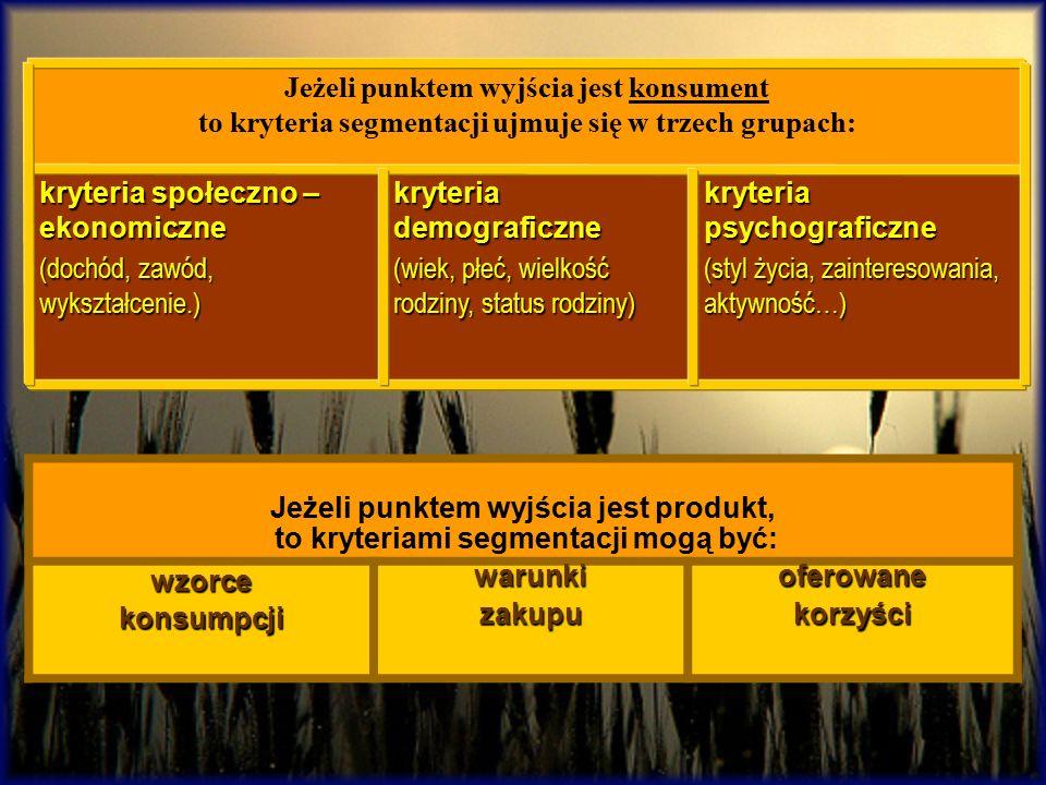 kryteria psychograficzne (styl życia, zainteresowania, aktywność…) kryteria demograficzne (wiek, płeć, wielkość rodziny, status rodziny) kryteria społ