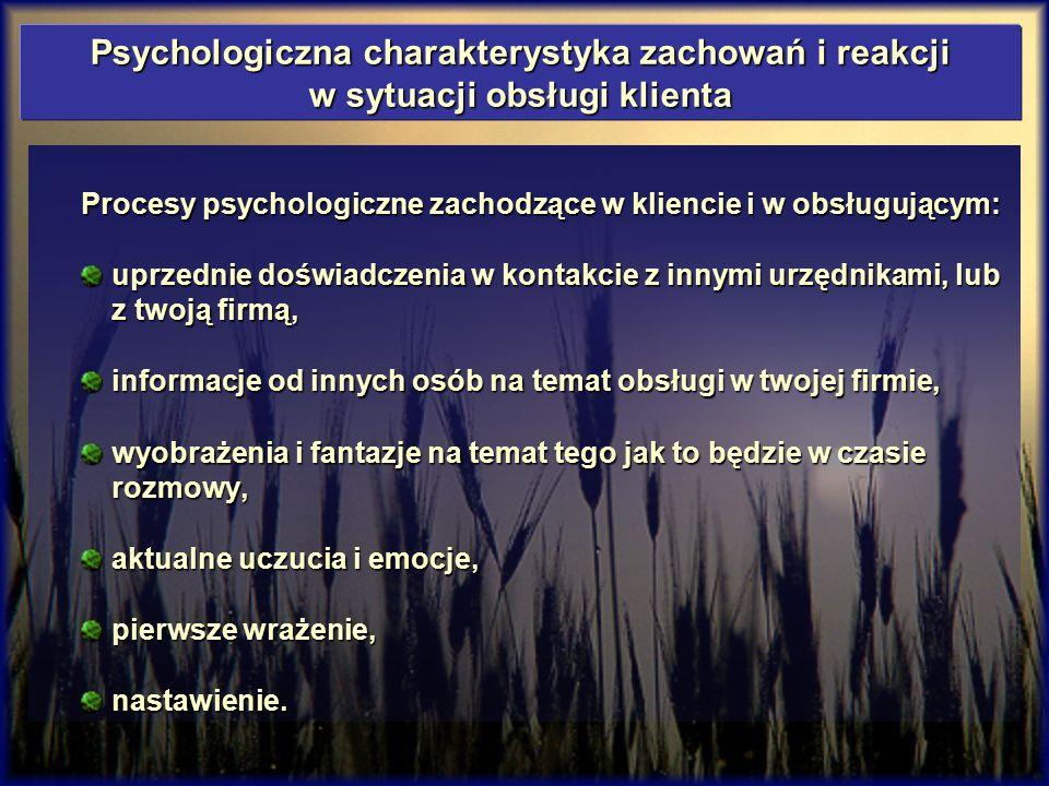 Psychologiczna charakterystyka zachowań i reakcji w sytuacji obsługi klienta Procesy psychologiczne zachodzące w kliencie i w obsługującym: uprzednie