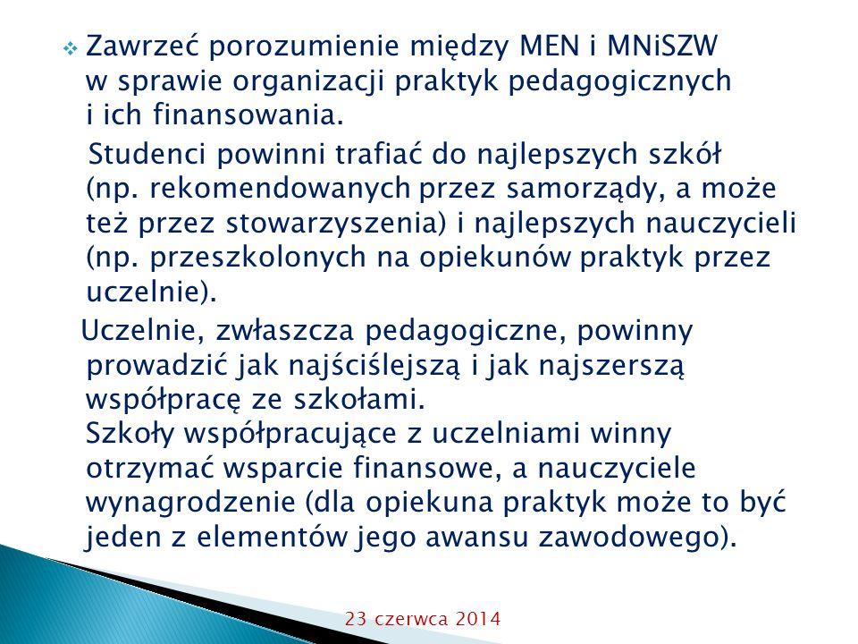  Zawrzeć porozumienie między MEN i MNiSZW w sprawie organizacji praktyk pedagogicznych i ich finansowania.