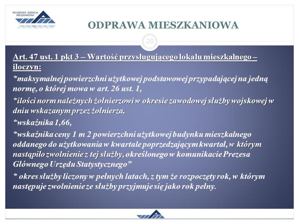 ODPRAWA MIESZKANIOWA Art. 47 ust. 1 pkt 3 – Wartość przysługującego lokalu mieszkalnego – iloczyn: *maksymalnej powierzchni użytkowej podstawowej przy