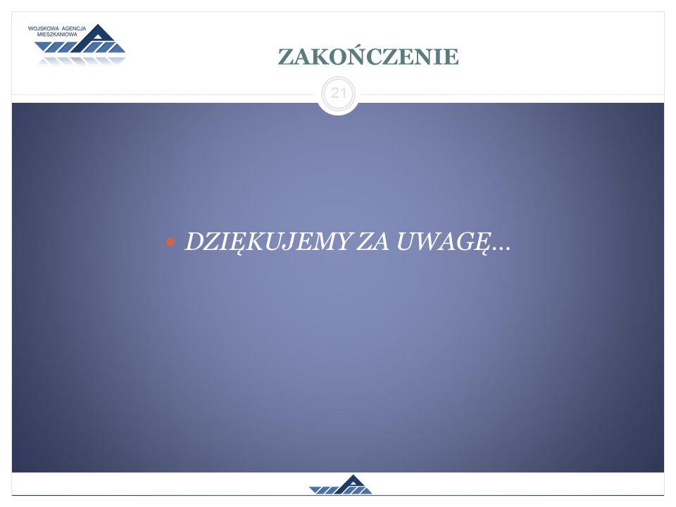 ZAKOŃCZENIE DZIĘKUJEMY ZA UWAGĘ… 21