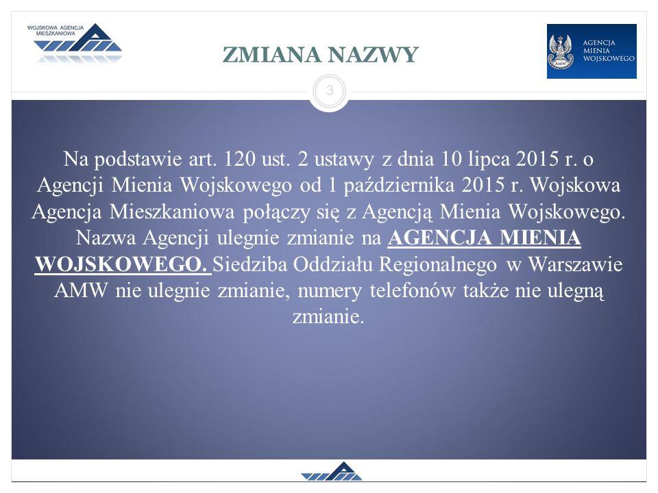 ZMIANA NAZWY Na podstawie art. 120 ust. 2 ustawy z dnia 10 lipca 2015 r. o Agencji Mienia Wojskowego od 1 października 2015 r. Wojskowa Agencja Mieszk
