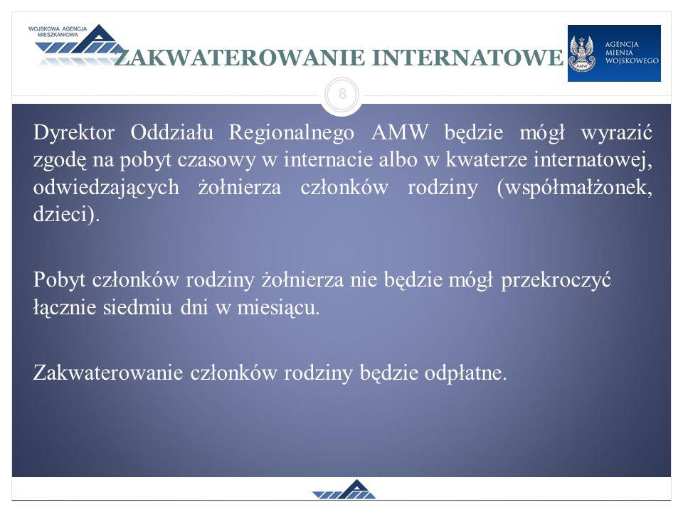 ZAKWATEROWANIE INTERNATOWE Dyrektor Oddziału Regionalnego AMW będzie mógł wyrazić zgodę na pobyt czasowy w internacie albo w kwaterze internatowej, od