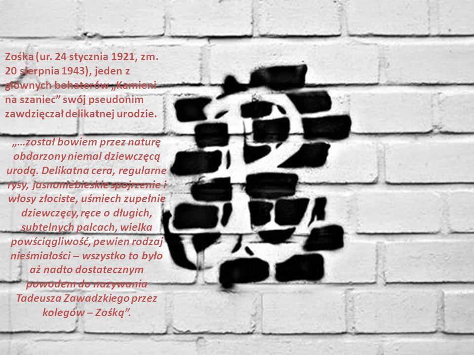 """Zośka (ur. 24 stycznia 1921, zm. 20 sierpnia 1943), jeden z głównych bohaterów """"Kamieni na szaniec"""" swój pseudonim zawdzięczał delikatnej urodzie. """"…z"""