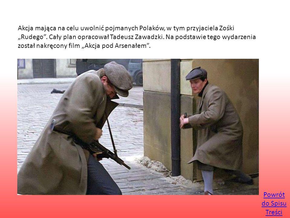 """Akcja mająca na celu uwolnić pojmanych Polaków, w tym przyjaciela Zośki """"Rudego"""". Cały plan opracował Tadeusz Zawadzki. Na podstawie tego wydarzenia z"""