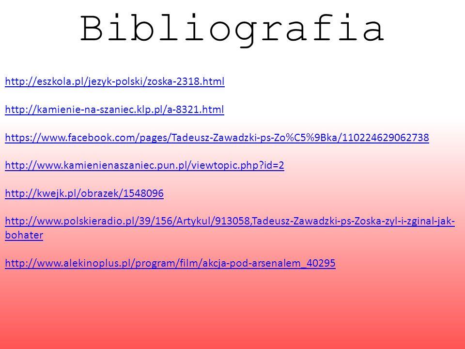 Bibliografia http://eszkola.pl/jezyk-polski/zoska-2318.html http://kamienie-na-szaniec.klp.pl/a-8321.html https://www.facebook.com/pages/Tadeusz-Zawad
