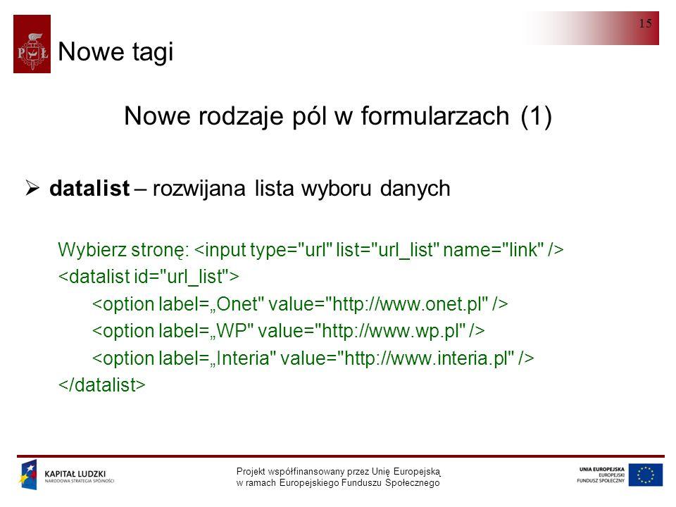 HTML 5.0 Projekt współfinansowany przez Unię Europejską w ramach Europejskiego Funduszu Społecznego 15 Nowe tagi Nowe rodzaje pól w formularzach (1)  datalist – rozwijana lista wyboru danych Wybierz stronę: