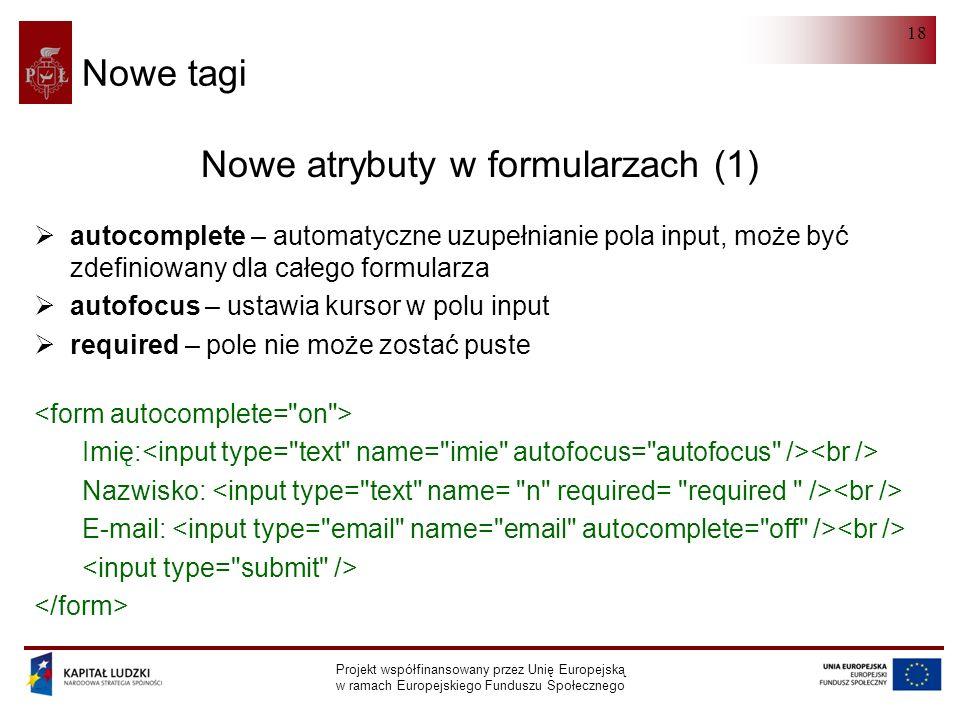 HTML 5.0 Projekt współfinansowany przez Unię Europejską w ramach Europejskiego Funduszu Społecznego 18 Nowe tagi Nowe atrybuty w formularzach (1)  autocomplete – automatyczne uzupełnianie pola input, może być zdefiniowany dla całego formularza  autofocus – ustawia kursor w polu input  required – pole nie może zostać puste Imię: Nazwisko: E-mail: