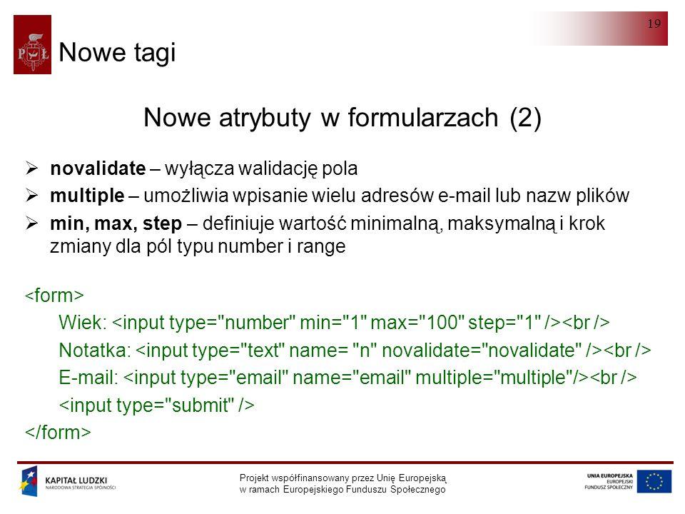 HTML 5.0 Projekt współfinansowany przez Unię Europejską w ramach Europejskiego Funduszu Społecznego 19 Nowe tagi Nowe atrybuty w formularzach (2)  novalidate – wyłącza walidację pola  multiple – umożliwia wpisanie wielu adresów e-mail lub nazw plików  min, max, step – definiuje wartość minimalną, maksymalną i krok zmiany dla pól typu number i range Wiek: Notatka: E-mail: