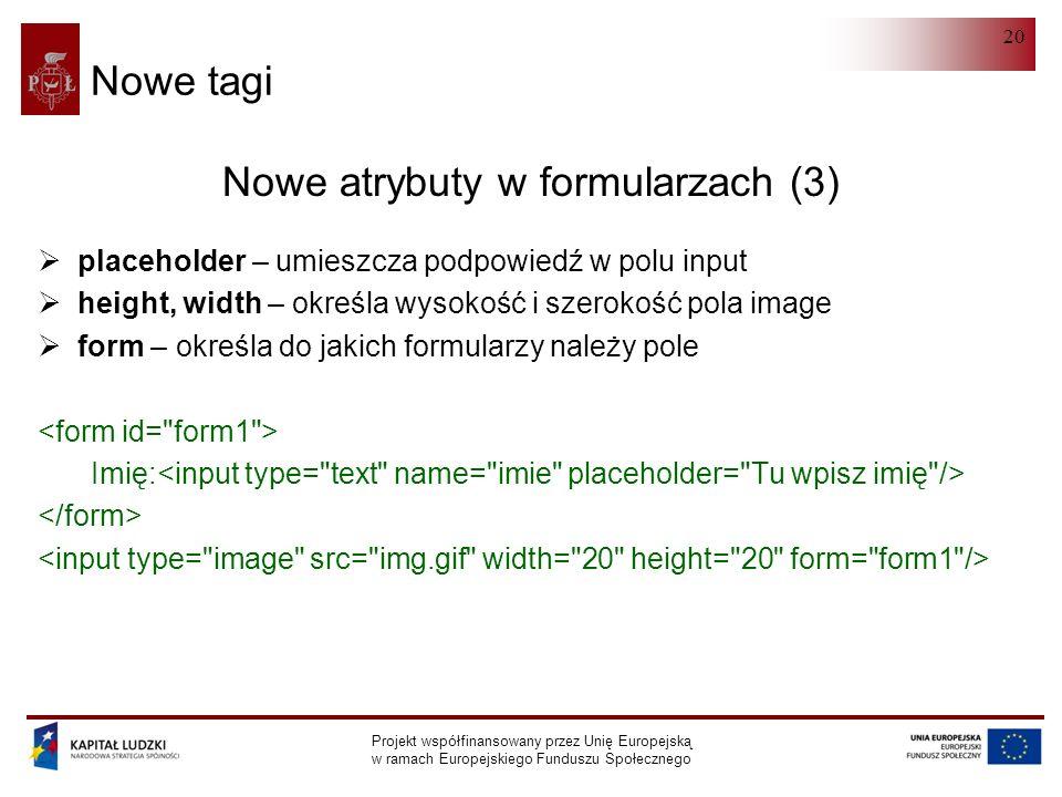 HTML 5.0 Projekt współfinansowany przez Unię Europejską w ramach Europejskiego Funduszu Społecznego 20 Nowe tagi Nowe atrybuty w formularzach (3)  pl