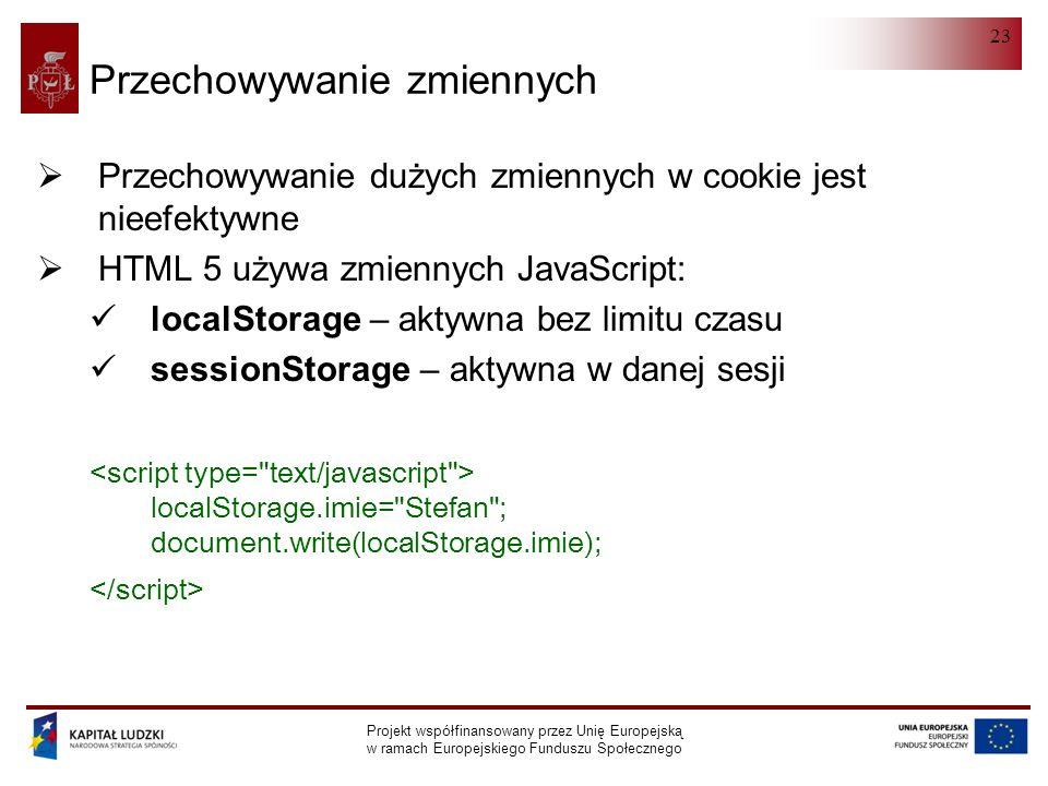 HTML 5.0 Projekt współfinansowany przez Unię Europejską w ramach Europejskiego Funduszu Społecznego 23 Przechowywanie zmiennych  Przechowywanie dużych zmiennych w cookie jest nieefektywne  HTML 5 używa zmiennych JavaScript: localStorage – aktywna bez limitu czasu sessionStorage – aktywna w danej sesji localStorage.imie= Stefan ; document.write(localStorage.imie);