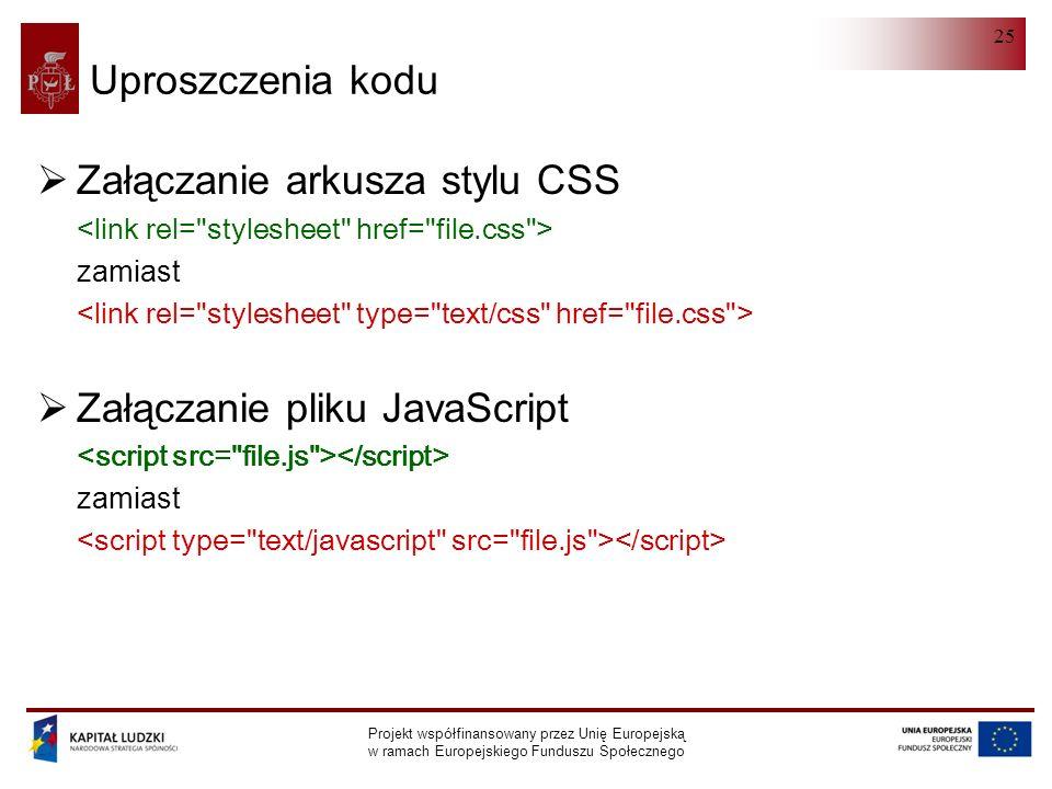 HTML 5.0 Projekt współfinansowany przez Unię Europejską w ramach Europejskiego Funduszu Społecznego 25 Uproszczenia kodu  Załączanie arkusza stylu CSS zamiast  Załączanie pliku JavaScript zamiast