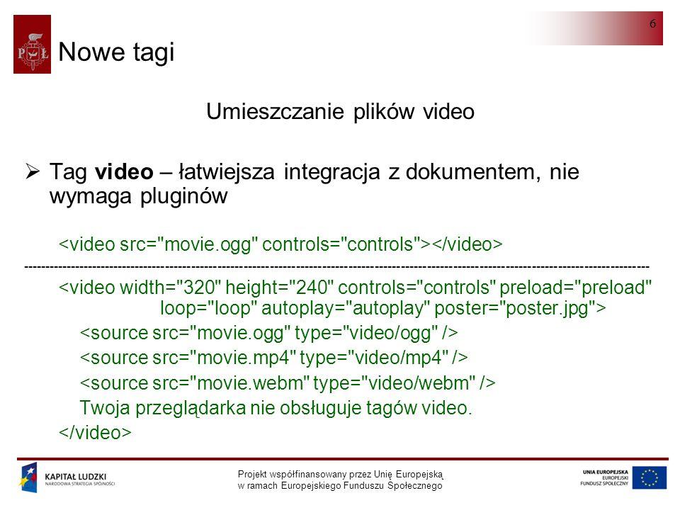 HTML 5.0 Projekt współfinansowany przez Unię Europejską w ramach Europejskiego Funduszu Społecznego 6 Nowe tagi Umieszczanie plików video  Tag video – łatwiejsza integracja z dokumentem, nie wymaga pluginów ------------------------------------------------------------------------------------------------------------------------------------------------ Twoja przeglądarka nie obsługuje tagów video.