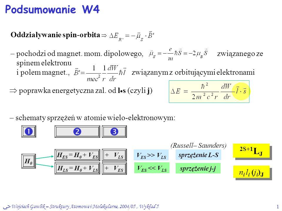 ﴀ Wojciech Gawlik – Struktury Atomowe i Molekularne, 2004/05, Wykład 51 Podsumowanie W4 Oddziaływanie spin-orbita  – pochodzi od magnet. mom. dipolow