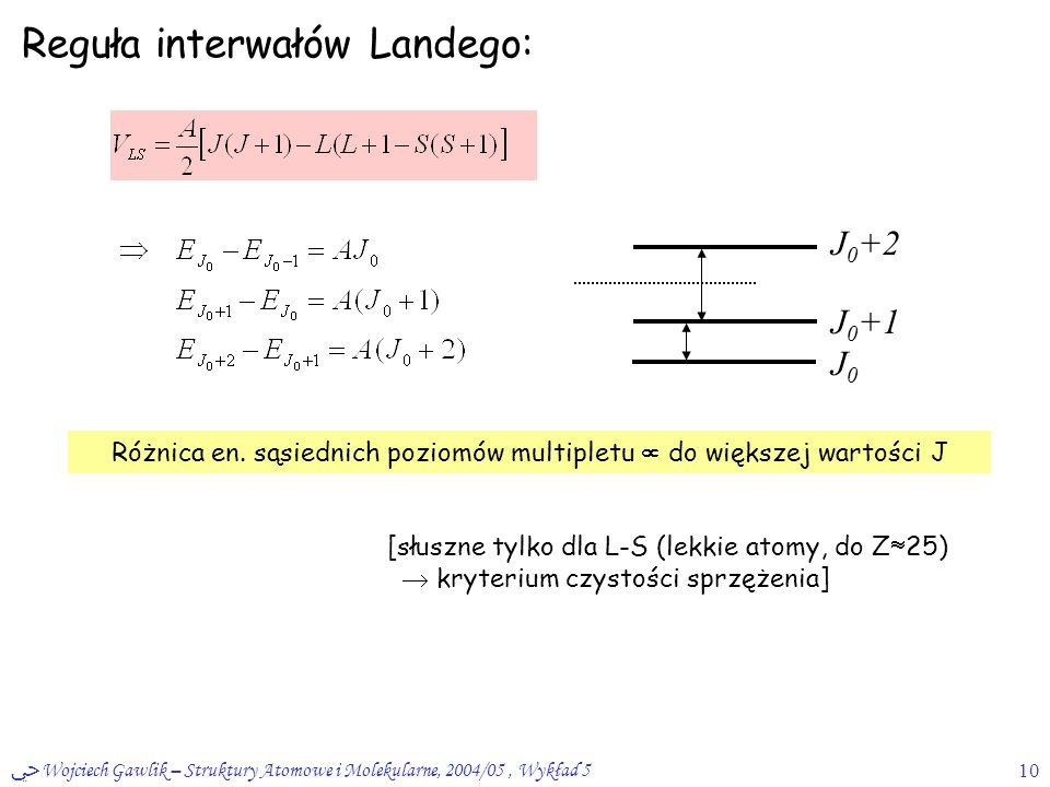 ﴀ Wojciech Gawlik – Struktury Atomowe i Molekularne, 2004/05, Wykład 510 Reguła interwałów Landego: Różnica en. sąsiednich poziomów multipletu  do wi