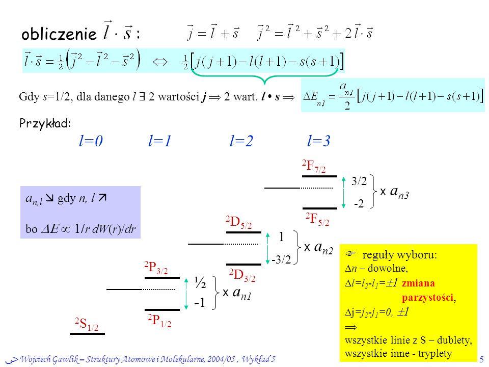 ﴀ Wojciech Gawlik – Struktury Atomowe i Molekularne, 2004/05, Wykład 55 obliczenie : Gdy s=1/2, dla danego l  2 wartości j  2 wart. l s  Przykład: